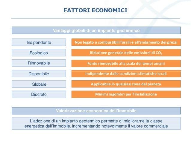 FATTORI ECONOMICI Vantaggi globali di un impianto geotermico Indipendente Ecologico Rinnovabile Non legato a combustibili ...