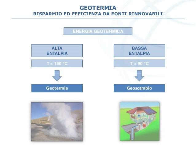 GEOTERMIA RISPARMIO ED EFFICIENZA DA FONTI RINNOVABILI ENERGIA GEOTERMICA ALTA ENTALPIA T > 150 °C BASSA ENTALPIA T < 90 °...