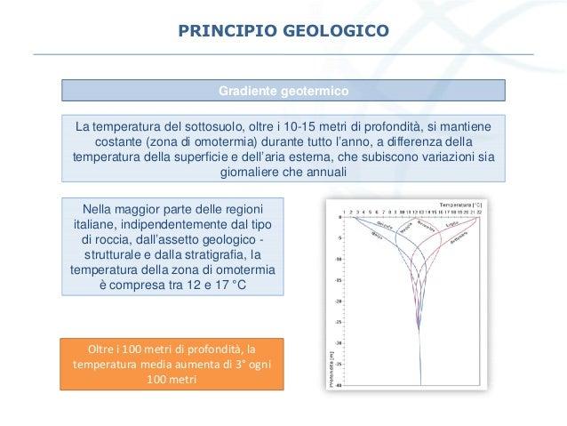 PRINCIPIO GEOLOGICO La temperatura del sottosuolo, oltre i 10-15 metri di profondità, si mantiene costante (zona di omoter...