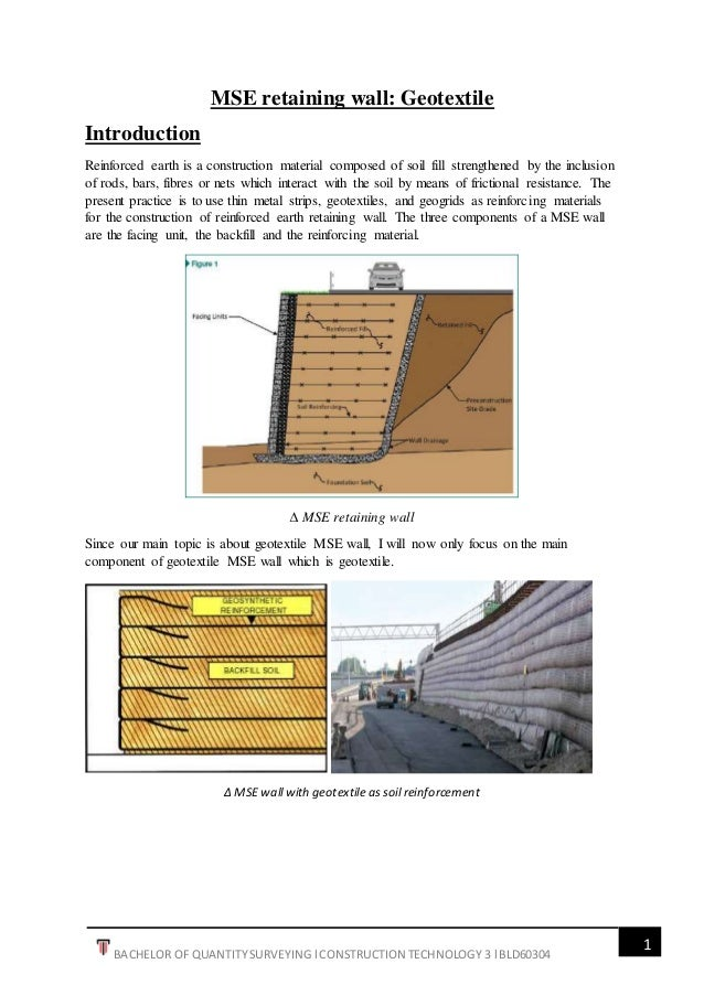 Geotextile mse wall report