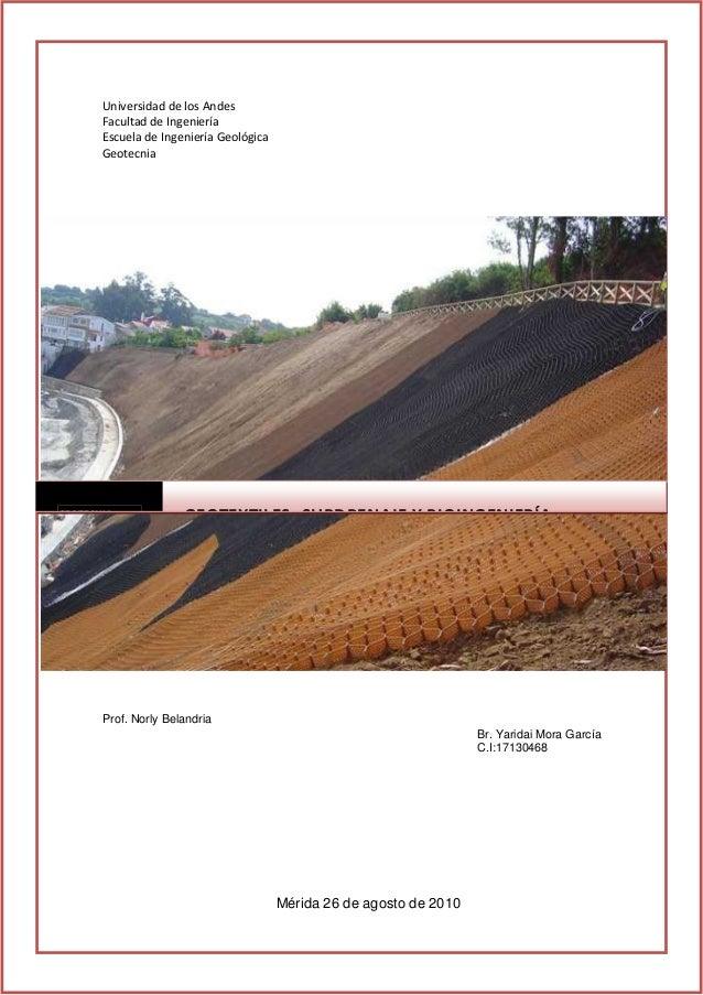 UniversidaddelosAndes FacultaddeIngeniería EscueladeIngenieríaGeológica Geotecnia GEOTECNIA GEOTEXTILES SUBDRE...