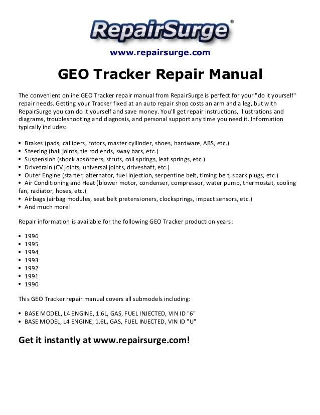 geo tracker repair manual 1990 1996 rh slideshare net 1994 geo tracker repair manual pdf geo tracker repair manual free