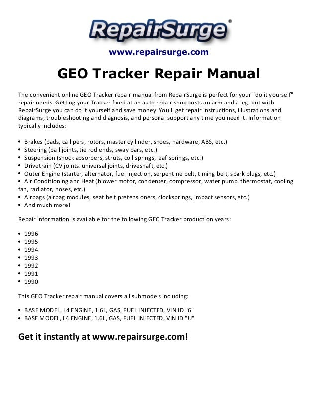 geo tracker repair manual 1990 1996 repairsurge com geo tracker repair manual the convenient online geo tracker repair manual