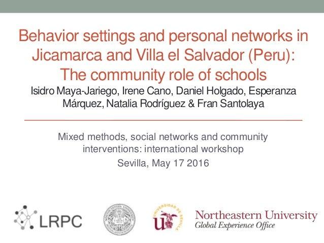Behavior settings and personal networks in Jicamarca and Villa el Salvador (Peru): The community role of schools Isidro Ma...