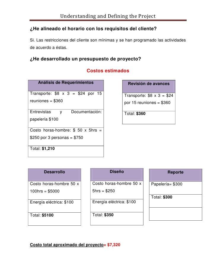 Understanding and Defining the Project  ¿He alineado el horario con los requisitos del cliente?  Si. Las restricciones del...