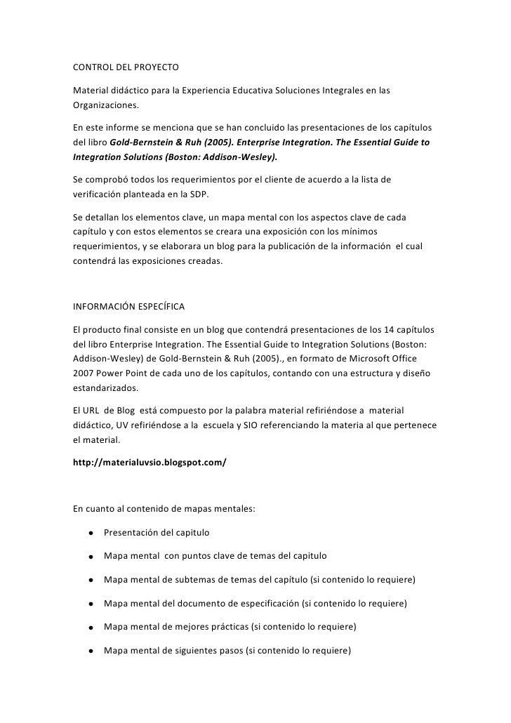 CONTROL DEL PROYECTO<br />Material didáctico para la Experiencia Educativa Soluciones Integrales en las Organizaciones.<br...