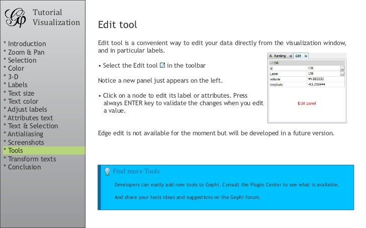 Tutorial          Visualization   Edit tool * Introduction           Edit tool is a convenient way to edit your data direc...