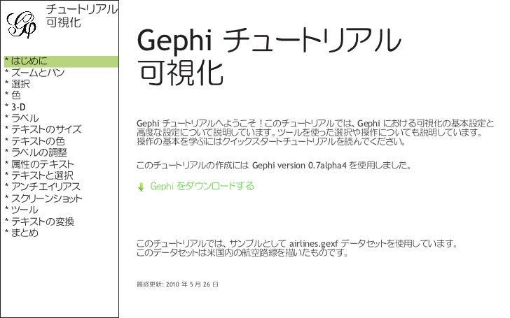 チュートリアル     可視化* はじめに               Gephi チュートリアル* ズームとパン* 選択           可視化*色* 3-D* ラベル          Gephi チュートリアルへようこそ!このチュート...