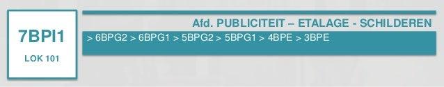 7BPI1  LOK 101  Afd. PUBLICITEIT – ETALAGE - SCHILDEREN  > 6BPG2 > 6BPG1 > 5BPG2 > 5BPG1 > 4BPE > 3BPE