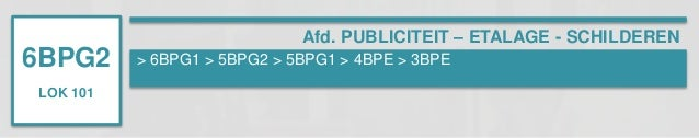 6BPG2  LOK 101  Afd. PUBLICITEIT – ETALAGE - SCHILDEREN  > 6BPG1 > 5BPG2 > 5BPG1 > 4BPE > 3BPE