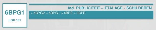 6BPG1  LOK 101  Afd. PUBLICITEIT – ETALAGE - SCHILDEREN  > 5BPG2 > 5BPG1 > 4BPE > 3BPE
