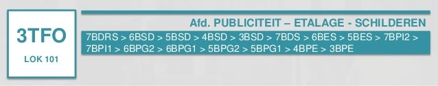 3TFO  LOK 101  Afd. PUBLICITEIT – ETALAGE - SCHILDEREN  7BDRS > 6BSD > 5BSD > 4BSD > 3BSD > 7BDS > 6BES > 5BES > 7BPI2 >  ...