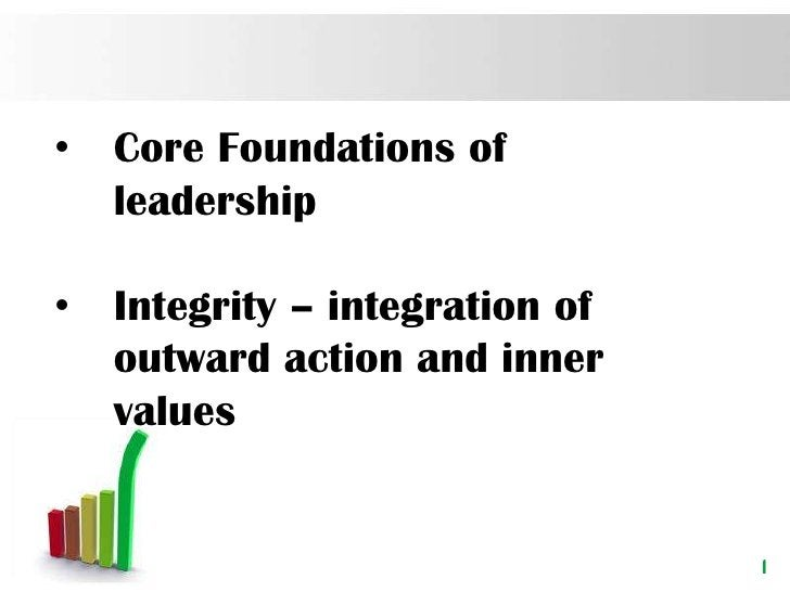 •   Core Foundations of    leadership•   Integrity – integration of    outward action and inner    values                 ...