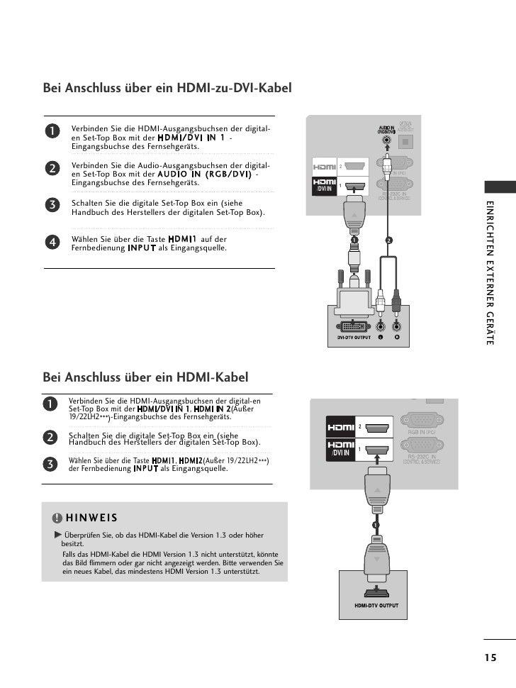 Bei Anschluss über ein HDMI-zu-DVI-Kabel 1    Verbinden Sie die HDMI-Ausgangsbuchsen der digital-      en Set-Top Box mit ...