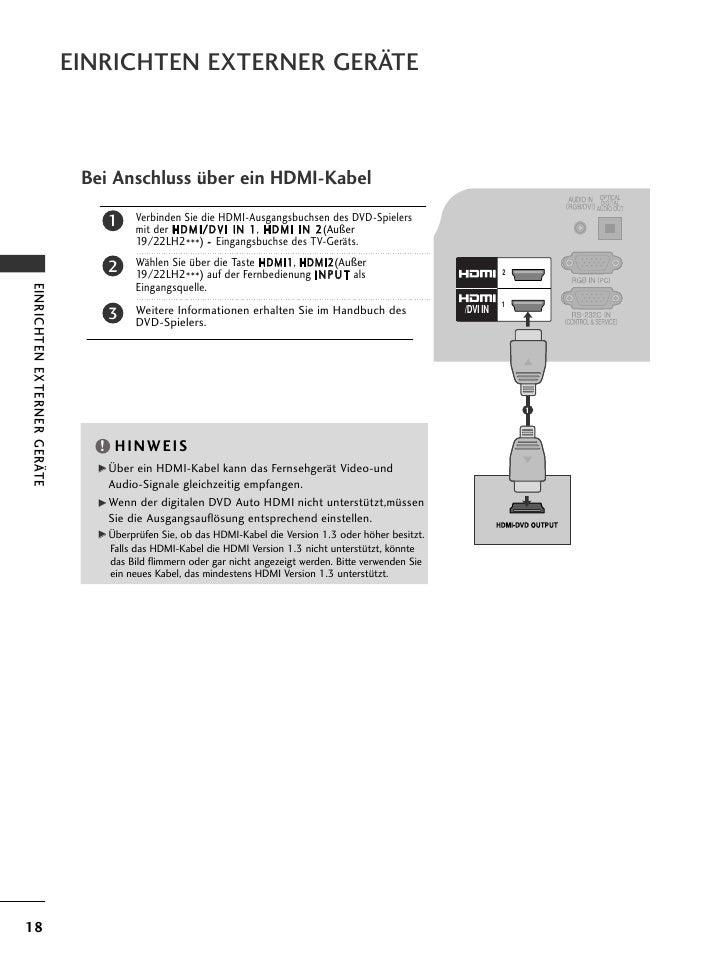 EINRICHTEN EXTERNER GERÄTE                              Bei Anschluss über ein HDMI-Kabel                                 ...