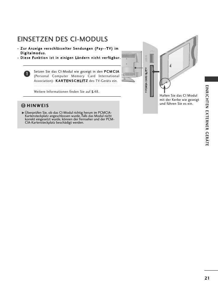 EINSETZEN DES CI-MODULS- Zur Anzeige verschlüsselter Sendungen (Pay--TV) im  Digitalmodus.- Diese Funktion ist in einigen ...