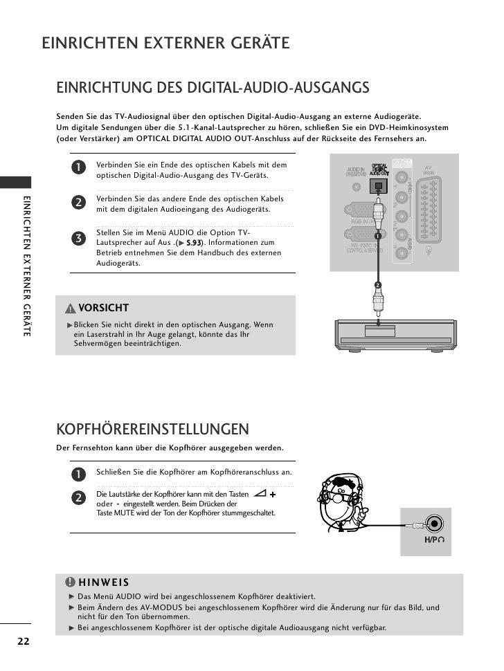 EINRICHTEN EXTERNER GERÄTE                              EINRICHTUNG DES DIGITAL-AUDIO-AUSGANGS                            ...