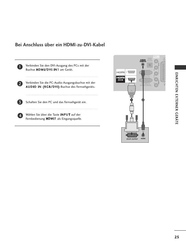 Bei Anschluss über ein HDMI-zu-DVI-Kabel                                                                                  ...