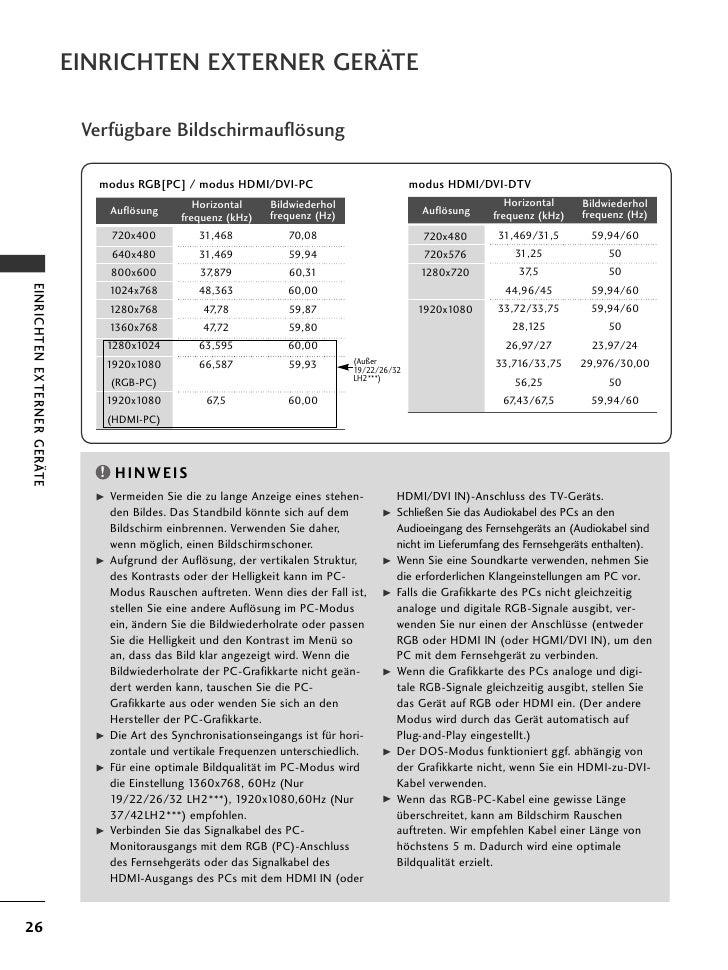 EINRICHTEN EXTERNER GERÄTE                              Verfügbare Bildschirmauflösung                                modu...