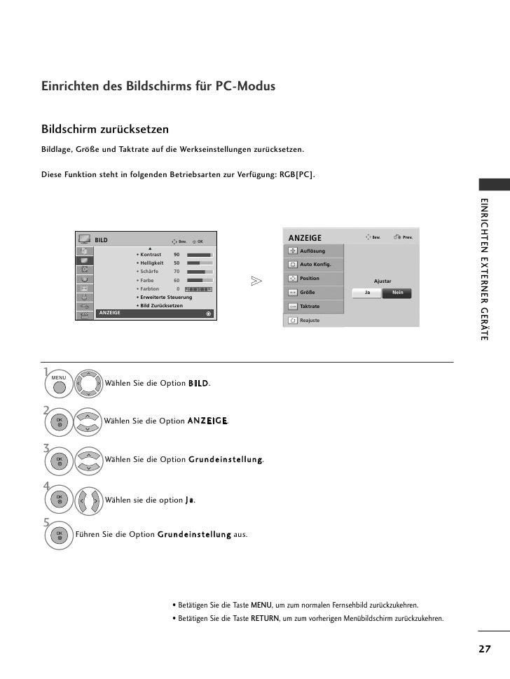 Einrichten des Bildschirms für PC-ModusBildschirm zurücksetzenBildlage, Größe und Taktrate auf die Werkseinstellungen zurü...