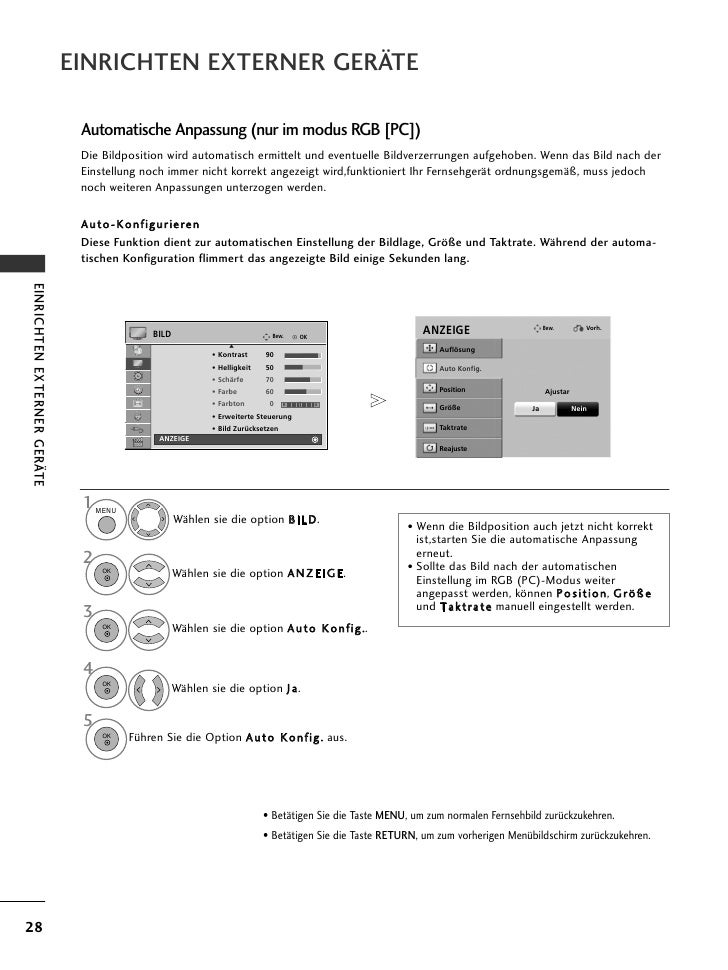 EINRICHTEN EXTERNER GERÄTE                              Automatische Anpassung (nur im modus RGB [PC])                    ...