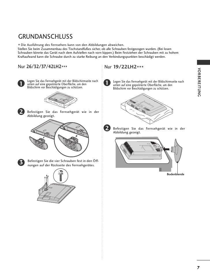 GRUNDANSCHLUSSI Die Ausführung des Fernsehers kann von den Abbildungen abweichen.Stellen Sie beim Zusammenbau des Tischsta...