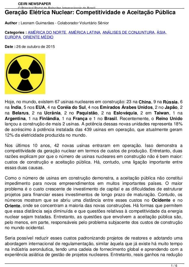 CEIRI NEWSPAPER O Principal Portal de Relações Internacionais do Brasil http://www.jornal.ceiri.com.brGeração Elétrica Nuc...