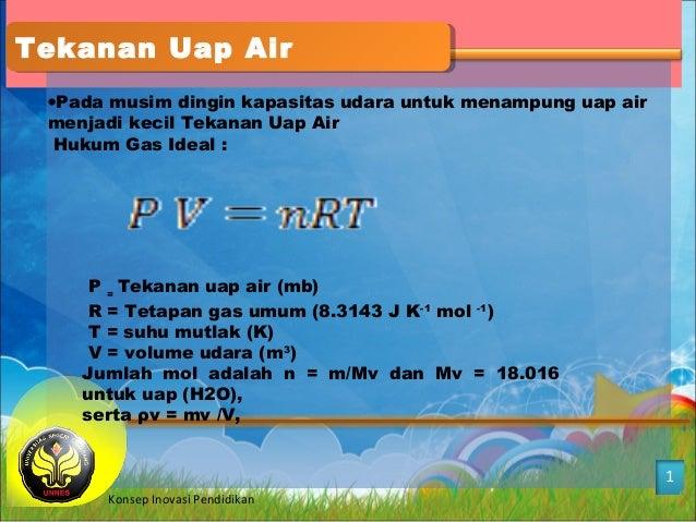 Tekanan Uap AirTekanan Uap Air 1 Konsep Inovasi Pendidikan •Pada musim dingin kapasitas udara untuk menampung uap air menj...