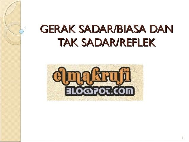 GERAKGERAK SADAR/SADAR/BIASA DANBIASA DANTAK SADAR/TAK SADAR/REFLEKREFLEK1