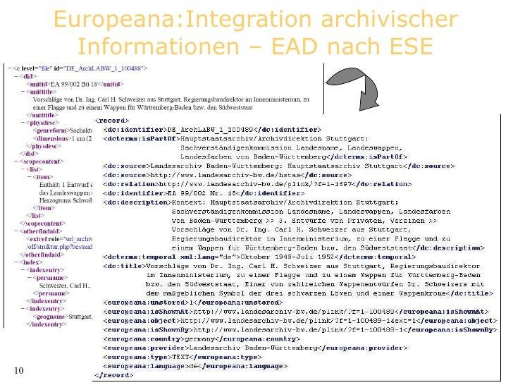 Europeana:Integration archivischer Informationen – EAD nach ESE