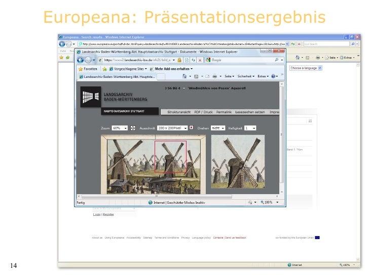 Europeana: Präsentationsergebnis