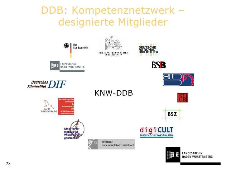 DDB: Kompetenznetzwerk –designierte Mitglieder KNW-DDB