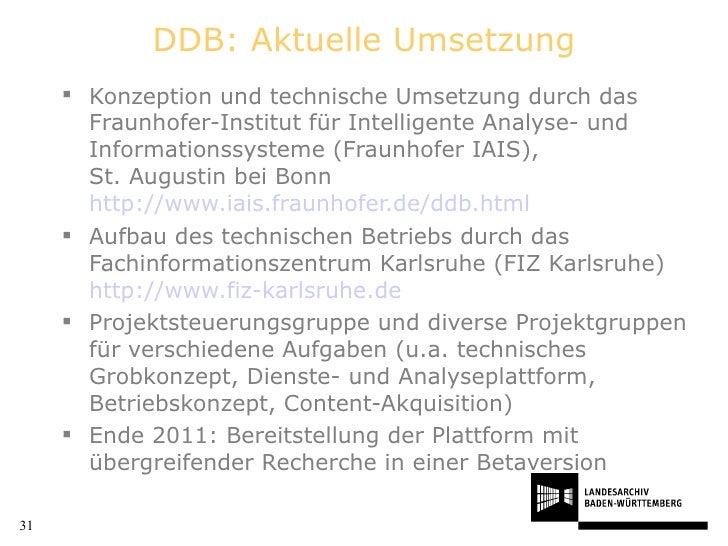 DDB: Aktuelle Umsetzung <ul><li>Konzeption und technische Umsetzung durch das Fraunhofer-Institut für Intelligente Analyse...