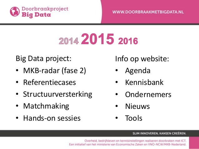 Big Data project: • MKB-radar (fase 2) • Referentiecases • Structuurversterking • Matchmaking • Hands-on sessies Info op w...