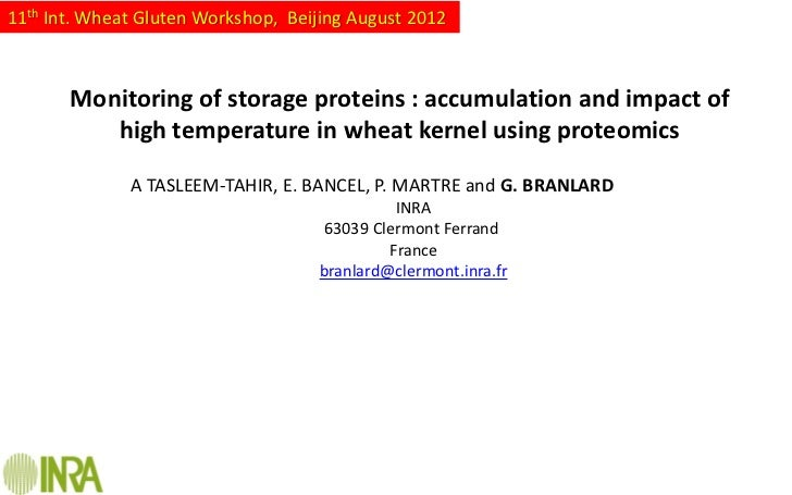 11th Int. Wheat Gluten Workshop, Beijing August 2012       Monitoring of storage proteins : accumulation and impact of    ...