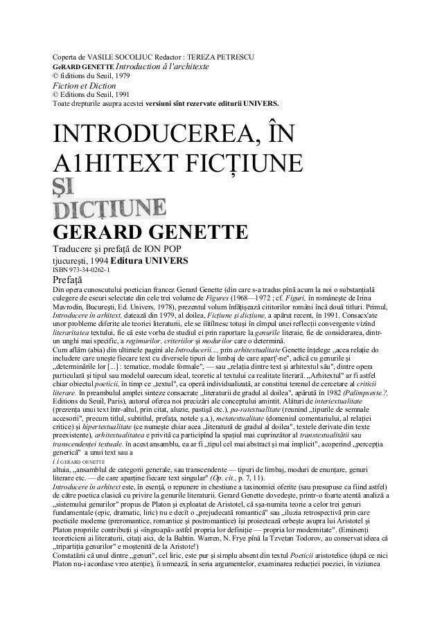Coperta de VASILE SOCOLIUC Redactor : TEREZA PETRESCU GeRARD GENETTE Introduction ă l'architexte © fiditions du Seuil, 197...