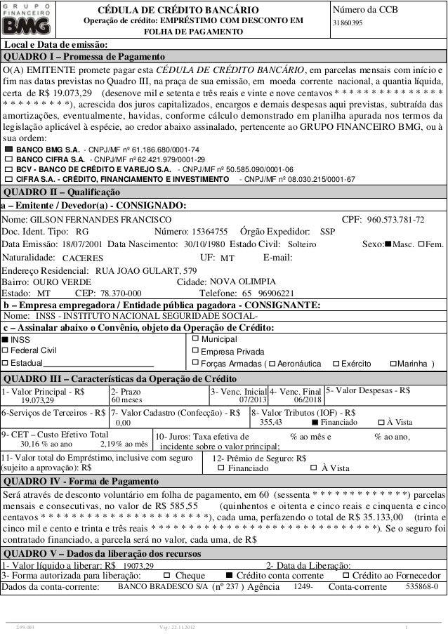 FOLHA DE PAGAMENTO Operação de crédito: EMPRÉSTIMO COM DESCONTO EM CÉDULA DE CRÉDITO BANCÁRIO Número da CCB Local e Data d...