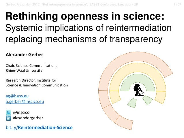 """1 / 57Gerber, Alexander (2018): """"Rethinking openness in science"""". EASST Conference, Lancaster / UK Rethinking openness in ..."""