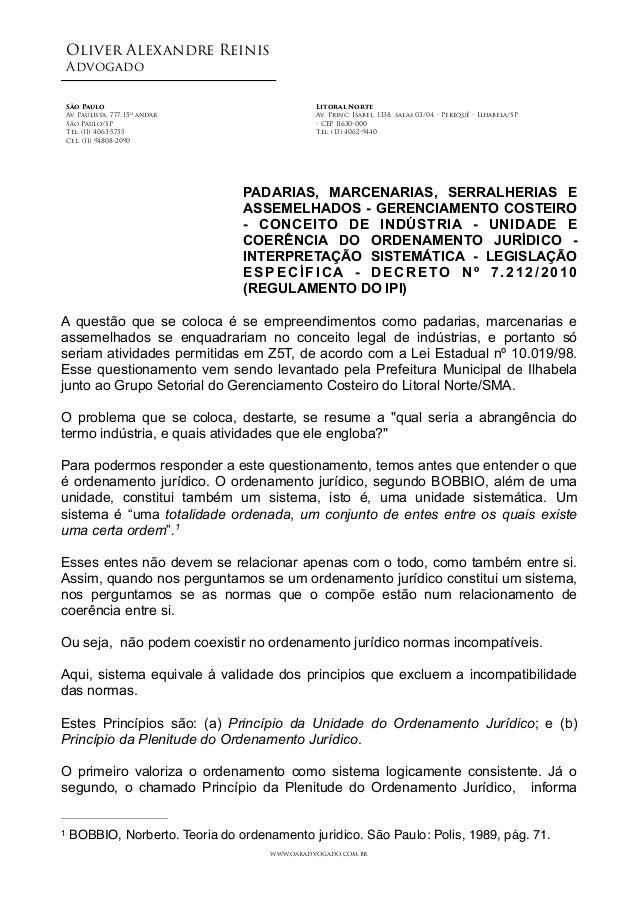 Oliver Alexandre Reinis Advogado! ! ! ! PADARIAS, MARCENARIAS, SERRALHERIAS E ASSEMELHADOS - GERENCIAMENTO COSTEIRO - CONC...
