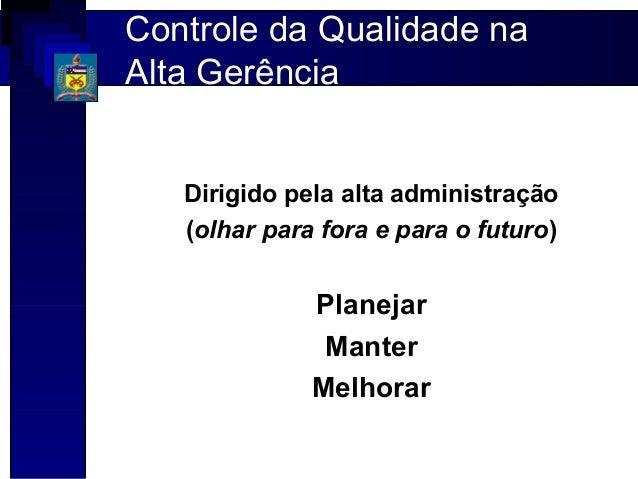 Controle da Qualidade naAlta Gerência   Dirigido pela alta administração   (olhar para fora e para o futuro)              ...