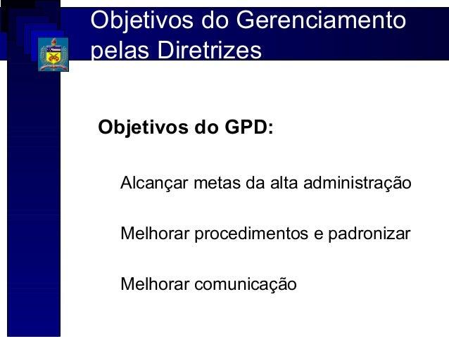 Objetivos do Gerenciamentopelas DiretrizesObjetivos do GPD:  Alcançar metas da alta administração  Melhorar procedimentos ...