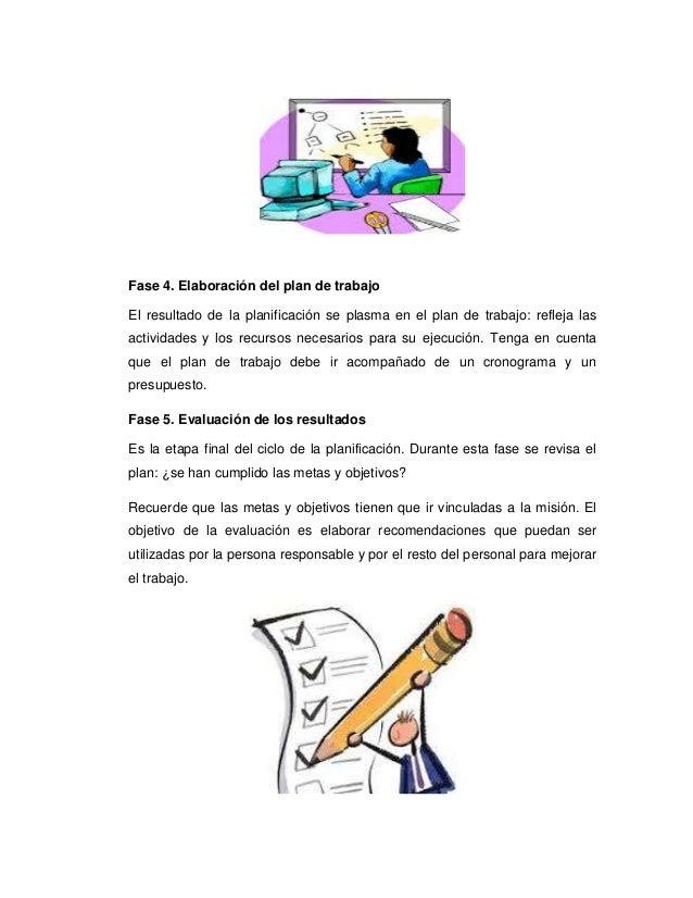 Fase 4. Elaboración del plan de trabajo El resultado de la planificación se plasma en el plan de trabajo: refleja las acti...