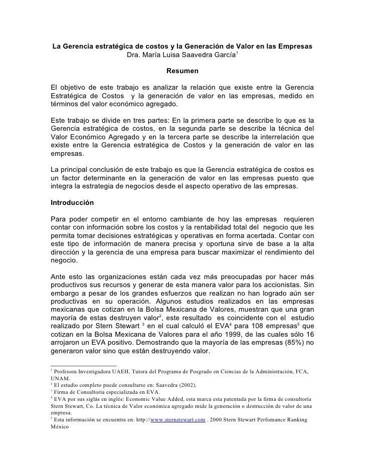 La Gerencia estratégica de costos y la Generación de Valor en las Empresas                     Dra. María Luisa Saavedra G...