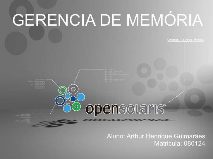 GERENCIA DE MEMÓRIA              Aluno: Arthur Henrique Guimarães                          Matricula: 080124