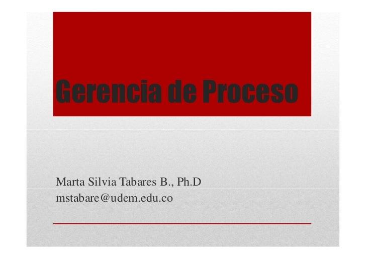 Gerencia de ProcesoMarta Silvia Tabares B., Ph.Dmstabare@udem.edu.co