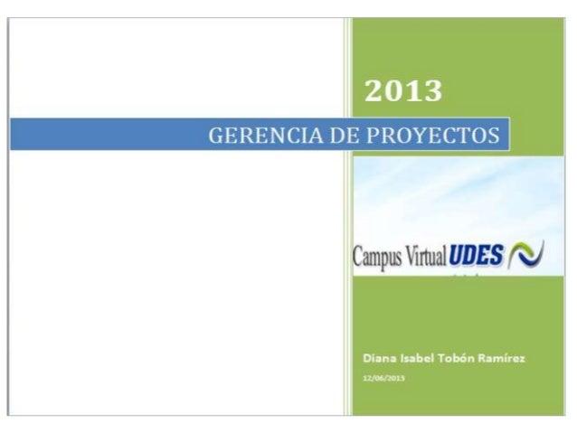 Gerencia de proyectos cap 1 udes 2013