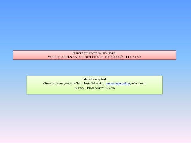 UNIVERSIDAD DE SANTANDER.MODULO: GERENCIA DE PROYECTOS DE TECNOLOGÍA EDUCATIVAMapa ConceptualGerencia de proyectos de Tecn...