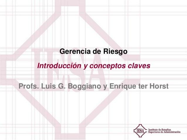 Gerencia de Riesgo Introducción y conceptos claves Profs. Luis G. Boggiano y Enrique ter Horst