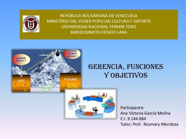 REPÚBLICA BOLIVARIANA DE VENEZUELA MINISTERIO DEL PODER POPULAR CULTURA Y DEPORTE UNIVERSIDAD NACIONAL FERMIN TORO BARQUIS...