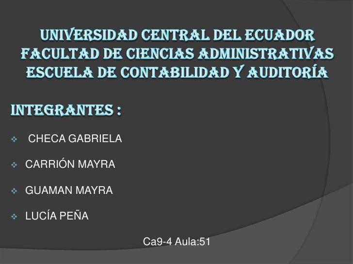    CHECA GABRIELA   CARRIÓN MAYRA   GUAMAN MAYRA   LUCÍA PEÑA                     Ca9-4 Aula:51
